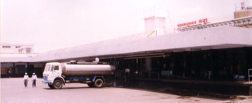 Milk Tanker being Unloaded at Dairy Dock.